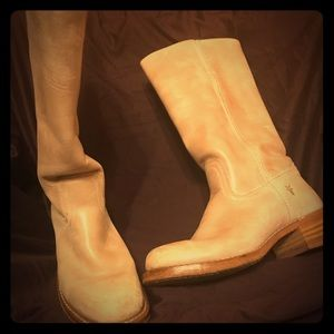 Frye Motorcycle Boots. Size 10. Creamy leather.